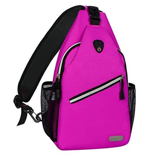 MOSISO Sling Backpack, Multipurpose Crossbody Shoulder Bag Travel Hiking Daypack, Rose Red