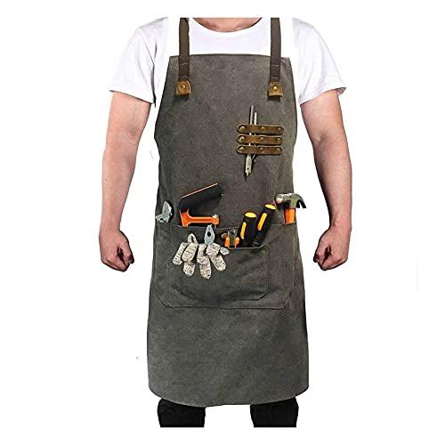 Delantal de Trabajo para Hombres Delantales Herramientas Resistentes Al Agua con Bolsillos Taller Correas Cruzadas Ajustables Chefs BBQ (Color : Gray, Tamaño : 85 * 68cm)