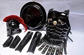 Medieval Roman King Leonidas Spartan 300 Film Helmet w / Red Feather + Muscle Jacket + Shield + Legs + Arm Guards 300 Greek Spartan King Leonidas Gear War Armor Shield Leonidas Helmet