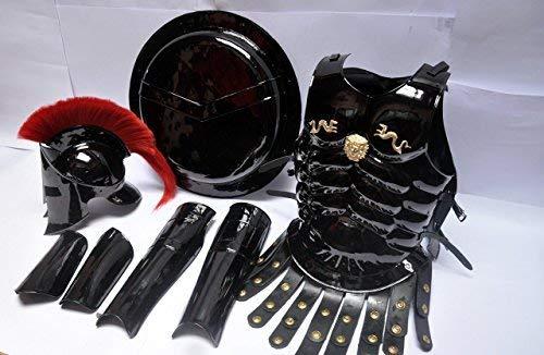 ONLINE SHOPPERS DELIGHT LTD Casco mediano romano King Leonidas 300 SPARTAN con enchufe rojo, armadura muscular + escudo + protector de pierna o brazo