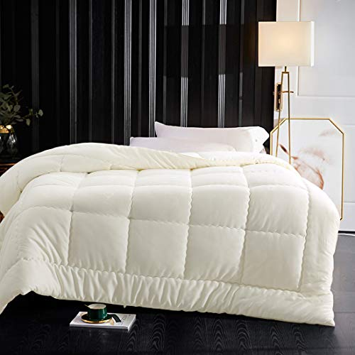 Abakan Luxury Down Alternative Comforter Twin Size Soft Fluffy All-Season Bedding Comforter 38 oz Fill Weight,Hypoallergenic,Hotel Quality Quilted Duvet Insert with 4 Corner Tabs,64x88 inch-Ivory