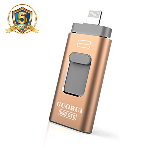 GUORUI Memoria USB 128 GB Pendrive Para iPhone OTG Android iPad iPod Computadoras Laptops Flash Drive USB 3.0 para iPhone X/8/8Plus 7/7Plus/5/5s/5c/6/6s Plus/ipad - Oro rosa