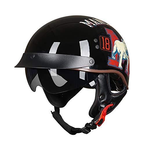Bolsos de casco de motocicleta retro, aprobado por ECE, casco de motocicleta cómodo para scooter de ciclomotor Chopper de crucero de bicicleta de calle 1,XXL=61-62CM