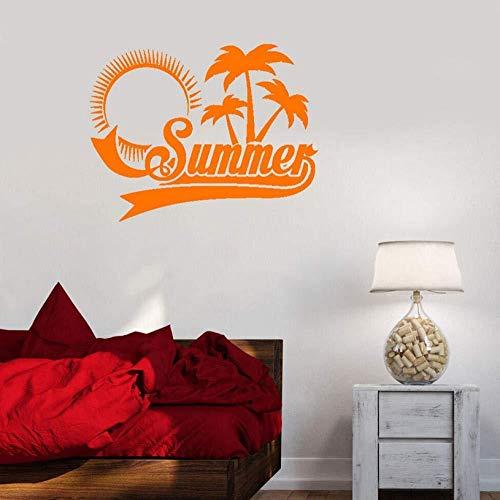 Tatouage De Mur D'Arbre De Noix De Coco, Salon Chambre Décoration De La Maison Vinyle Amovible Autocollant Sticker Mural Autocollant 42X54cm