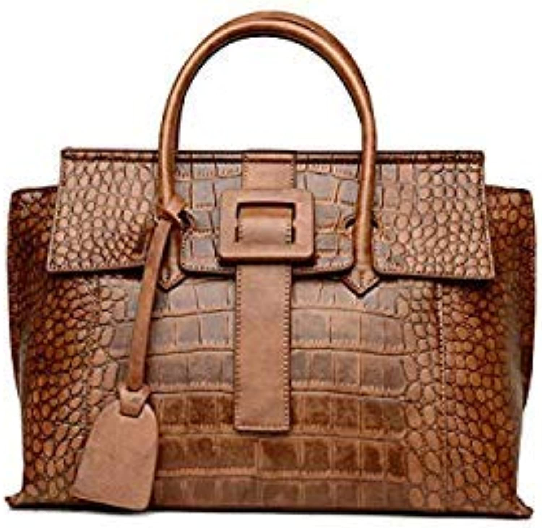 Bloomerang COSSLOO Women Bag Crocodile Alligator Bags Women Famous Brands Luxury Designer Handbag Leather Tote Hand Bag bolsas women color Brown