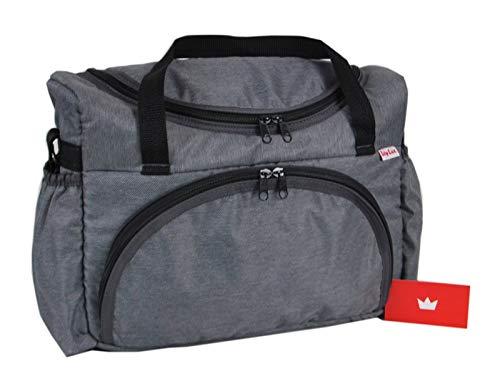 BABYLUX Wickeltasche Kinderwagentasche mit Wickelunterlage für Windeln Flaschen für Kinderwagen (54. Grau dunkel)