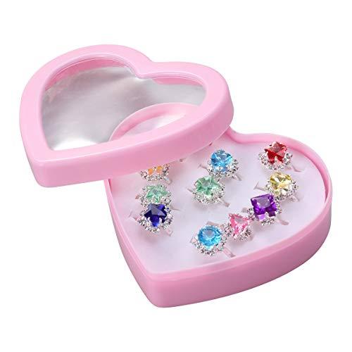TENDYCOCO 12pcs Anillos de Regalo Colorido Conjunto de Anillo de Diamante con Caja en Forma de corazón para niña niño niño