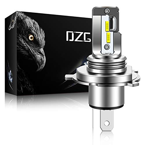DZG H4 9003 LED Headlights Motorcycle Fanless HB2 HS1 H19 P43t LED Bulb All-in-One High Low Beam 6500-7000K Super Bright Car Headlamp, Pack of 1