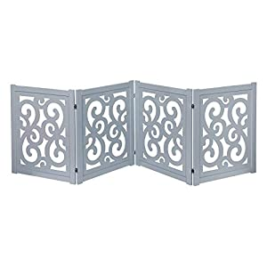 HOME DISTRICT Freestanding Pet Gate, Solid Wood 4-Panel Quad-Fold Folding Dog Gate Dog Fence for Doorways Stairs Decorative Pet Barrier – Grey Scroll Design, 81″ x 27″