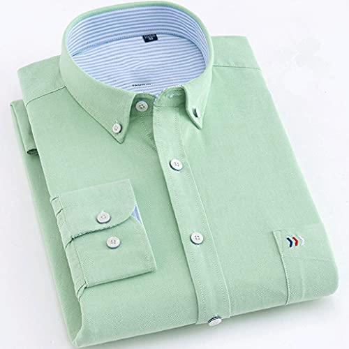 ZLDGYG ZMMDD Camisas de Hombre de algodón de Manga Larga de Color sólido de Lujo para Hombres Camisa vocacional Verde Blanco Ropa Masculina (Color : Green, Size : 41 is Asian Size XL)