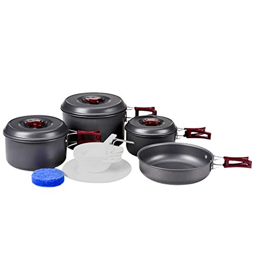 KingCamp Camping Cookware Mess Kit, Backpacking Cooking Set, Outdoor Camp Gear Accessories for Family Hiking Picnic Lightweight Cookware Sets (8 Pcs (Hard Anodized Aluminum))