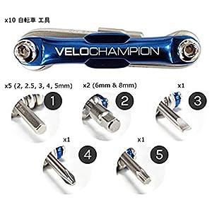 VeloChampion Multi Herramientas Portable 10-en-1 para Bicicleta - Herramienta Multifuncion De Reparacion De Bolsillo Plegable - Universal Bike Multitool