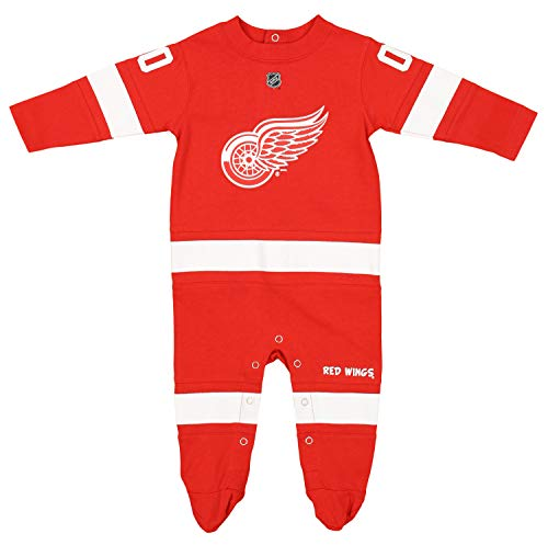 Outerstuff NHL Baby Boys Newborn Infant Long Sleeve Footed Coverall, Detroit Red Wings 0-3M