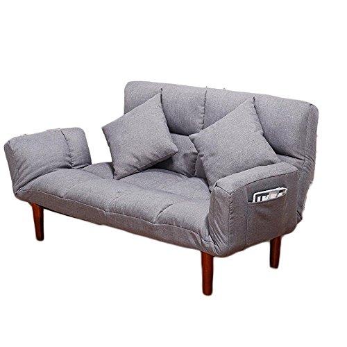 HTZ Petit Canapé-lit Double En Tissu Pliable Multifonctionnel + (Couleur : Gris clair)