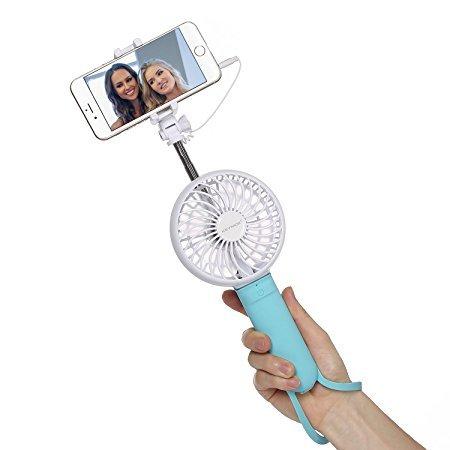 Selfie Stick, monopod de mano extensible con cable con ventiladores para iPhone...
