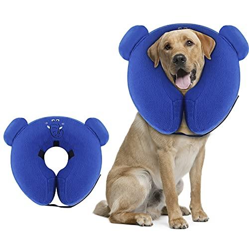 Petotw Collare di Recupero Collare Protettivo Gonfiabile, collari gonfiabili per Cani per Dopo l'intervento Chirurgico, Collare Regolabile a Ciambella con Forma di Elefante, per Cani e Gatti (L)