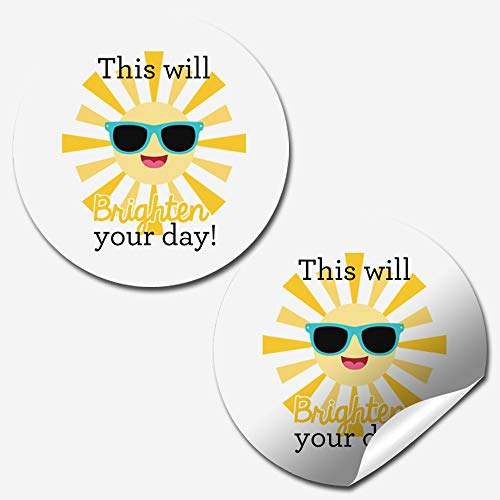 Brighten Your Day Sunshine Thank You Customer Appreciation Sticker Labels for Small Businesses, 60 1.5' Circle Stickers by AmandaCreation, Great for Envelopes, Postcards, Direct Mail, & More!