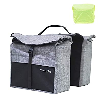 Vincita Top Load Double Pannier Water Resistant Cycling Side Bags - with Rain Cover, Large, Carrying Handle, Reflective Spots - Bike Rack Carrier Saddle Bag - Bicycle Accessories (Black/Gray)