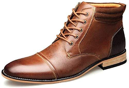 Zapatos Hombre Botines for Hombres Top Del Alto Vestido De Encaje Hasta Oxford Cuero Auténtico Burnished Estilo De La Puntada De La Cremallera Lateral Cuello En Contraste Punta Estrecha Duradero Botin
