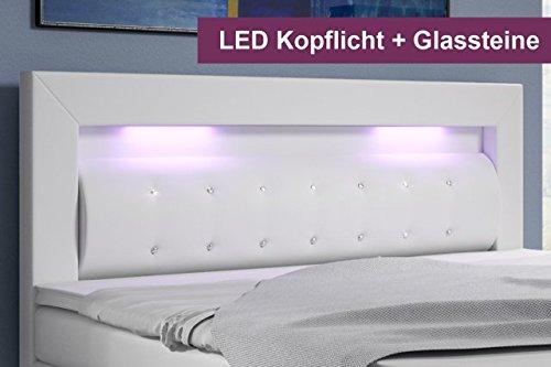 Boxspringbett mit Bettkasten 180×200 Weiß LED Kopflicht Glasstein Hotelbett Neapel - 2