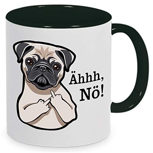 Tassenliebe® Mops mit Mittelfinger Ähh, Nö! - Lustige Hundetasse fürs Büro, Tasse mit Spruch/Motiv - tolles Geschenk!