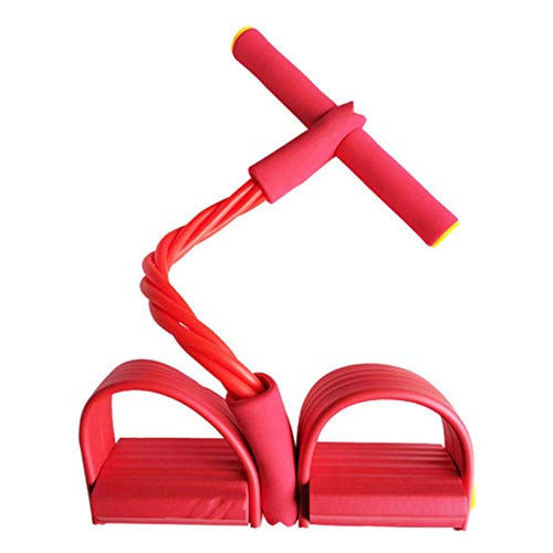 4 Resistanc Elastic Pull Ropes Exerciser Rudergerät Belly Resistance Band Home Gym Sporttraining Elastic Bands für Fitnessgeräte-Rot