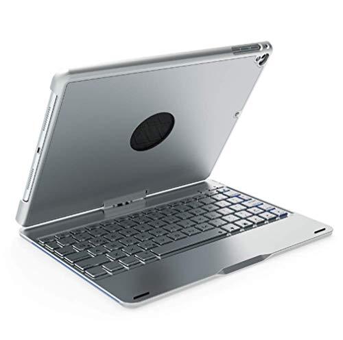 Strnry Für Ipad Pro 10,5 Zoll Folio Case Abdeckung 360 Grad Tastatur 7 Farben Hintergrundbeleuchtung Case Drahtlose Bluetooth Aluminium Tastatur,Silber