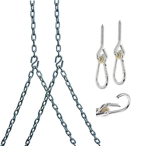 Barn-Shed-Play Heavy Duty 700 Lb Porch Swing Hanging Chain Kit - Color: Silver (8 Foot Ceiling)