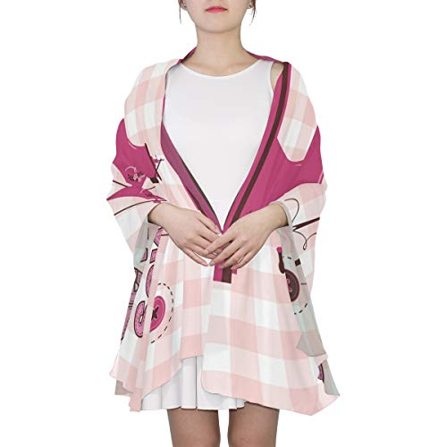 DEZIRO Zijden Sjaal Roze Vintage Naaimachine Lange Sjaal Sjaal Lichtgewicht Wrap voor Vrouwen