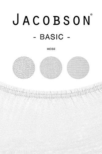 Jacobson Jersey Spannbettlaken Spannbetttuch Baumwolle Bettlaken (90×200-100×200 cm, Weiss) - 3