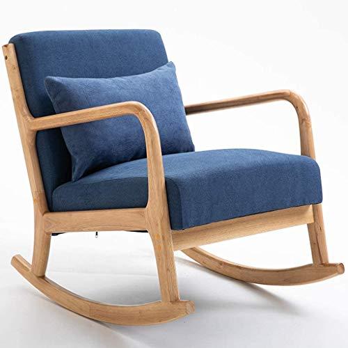 ロッキングチェア 北欧 ロッキング ロッキングチェア 北欧 ロッキング リクライニングチェア 読書椅子バルコニー寝室居間庭園ラウンジチェアリラックスチェア背もたれアームチェアサンラウンジャーキャンプロッキングチェア,Blue_Linen fabric