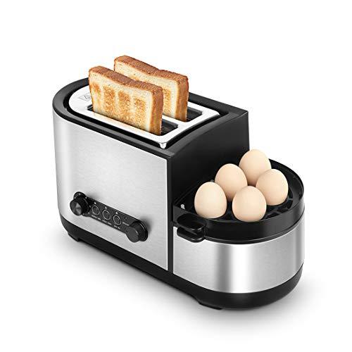 Tostadora, tostadora 5 en 1 con caldera de huevo y cazadores furtivos, tostadora de 2 rebanadas con mini sartén, vaporera, ranura ancha, 7 modos de control de dorado, 1250 W, acero inoxidable platead