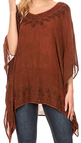 Sakkas 1801 - Regina Damen Leichte Poncho-Bluse aus Stonewashed-Top mit Kaftanüberzug - Rot - OS