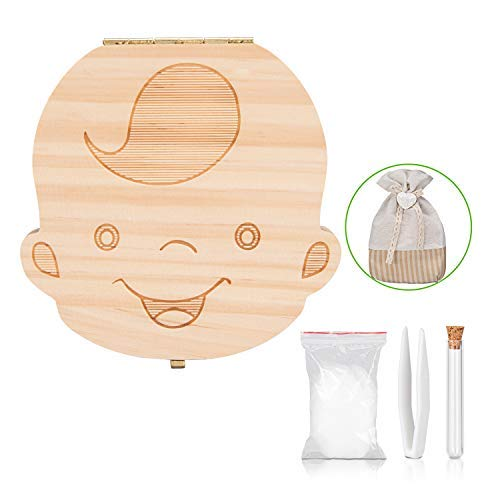 Teeth Box - Uiter Baby Teeth Box Save Organizer Wooden Tooth Keepsake Box for Boys