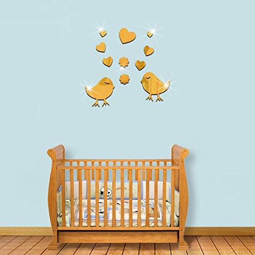 Etiqueta Pared Altura del Niño, Medición Altura del - Etiquetas de pared de espejo de acrílico ambiental 3D-dorado