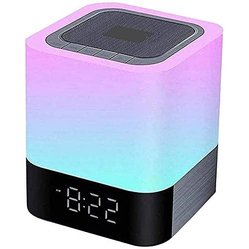 Newut Luz de Noche con Altavoz Bluetooth - Reloj Despertador con Reproductor inalámbrico portátil - Lámpara de Mesa LED cambiante Regulable Multicolor para Dormitorio
