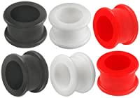 5/8ブラックホワイトレッドダブルフレアトンネルゲージプラグsi01卸売ロットadqf耳ストレッチストレッチャー一括セットピアス6pcs