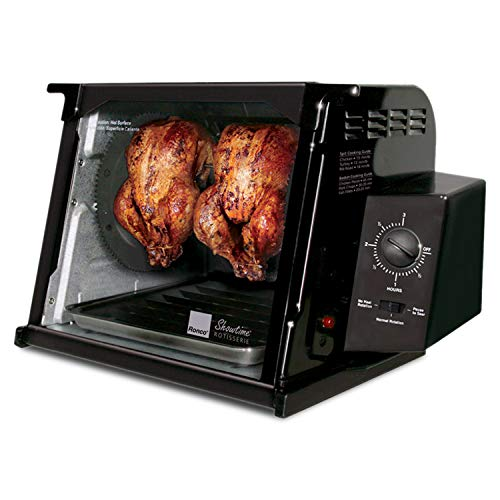 Ronco Showtime Classic Large Capacity Rotisserie & BBQ Oven, Simple Switch Control, Perfect Preset Rotation Speed, Self-Basting, Auto Shutoff, Includes Multipurpose Basket, black