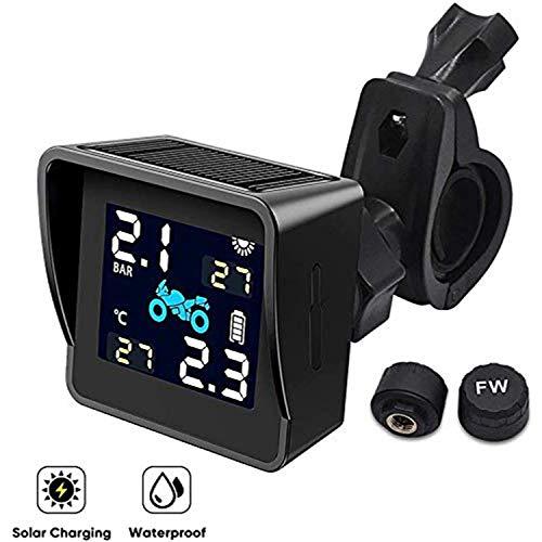 Kuchoow Solar Reifendruck kontrollsystem für Motorrad mit 2 Sensor, LCD Display, Anti Diebstahl & Wasserdicht Reifendrucküberwachung Reifendruck-Autoalarmsyste