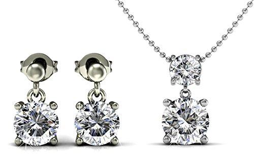 Yolora sieraden set met Swarovski kristal - Oorbellen met ketting en hanger - Dames geschenkset - Zilverkleurig - YO-015