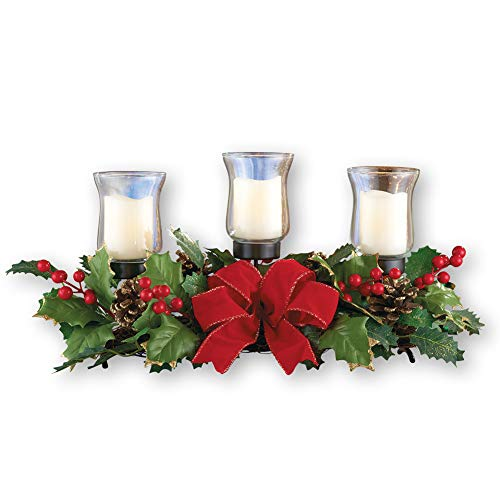 Collections Etc Holly Candle Holder Christmas Centerpiece