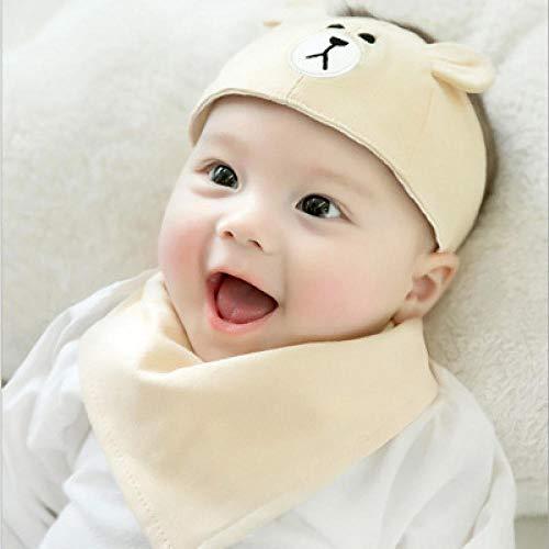 HGWZLQ Baby Mütze Mädchen Fontanellenkappe Für Neugeborene 0-6-12 Monate Leerer Zylinder Für Säuglinge Und Kinder - Hellgelber Hut + Speicheltuch_Eine Größe