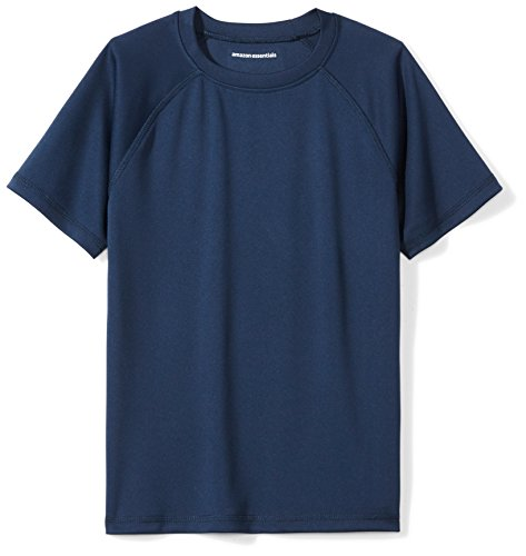 Amazon Essentials Boys UPF 50+ Short Sleeve Swim Shirt, Navy, Medium