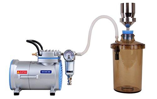 Vakuumfiltrationsset komplett mit Rocker-Laborpumpe, Edelstahl-Filterhalterset LF32 100ml Ø47mm und PC-Auffanggefäß