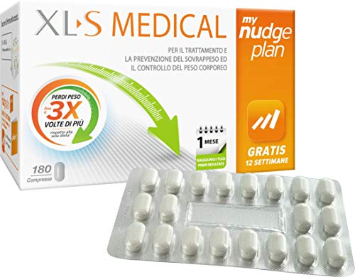 XL-S MEDICAL Litramine Integratore Dimagrante, Pastiglie Brucia Grassi con Graduale Riduzione dell'Appetito, My Nudge Plan App Incluso - 180 Compresse