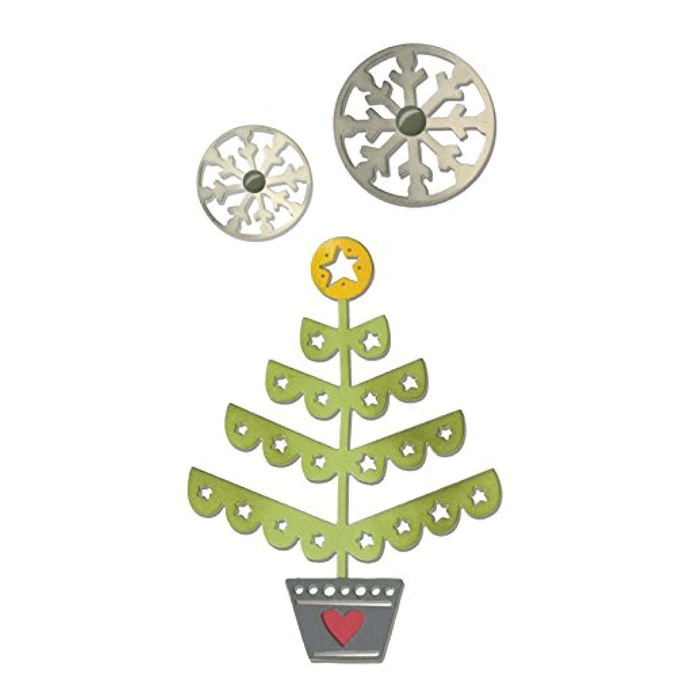 Sizzix 660726 Thinlits Die Set, Christmas Tree and Snowflakes by Debi Potter, 3-Pack