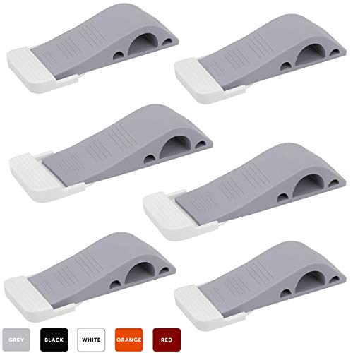 Wundermax Door Stopper Rubber Door Stop Wedge Security Door Stops with Door Holder Rubber Door Stoppers Works On All Floor Types and Carpet Heavy Duty Door Jam (6 Pack Gray)