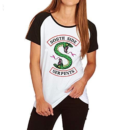 Coutures Noires et Blanches Été T-Shirt à Manche Courte Femme Imprimé Top Mode Casual Doux et Confortable Riverdale-South Side Serpents Chemise Coton Tee Shirt