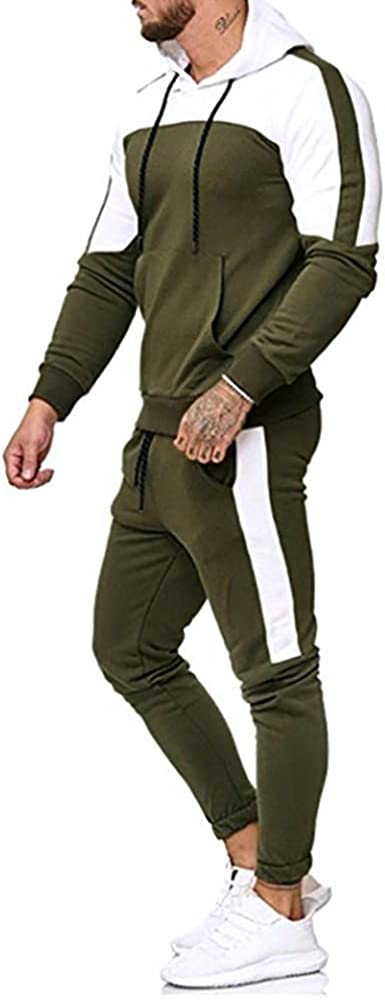 Men Hoodies Tracksuit 2 Piece Outfits Zip Up Casual Muscle Long Sleeve Sweatshirts and Sport Sweatpant Set Pockets