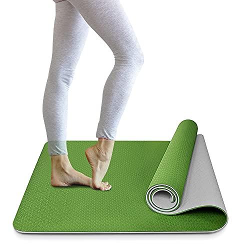 FSYEU Esterilla de gimnasia, esterilla de yoga, acolchada y antideslizante, sin ftalatos, para yoga, fitness, pilates, gimnasia, con correa de transporte, 183 x 61 x 0,6 cm (verde)